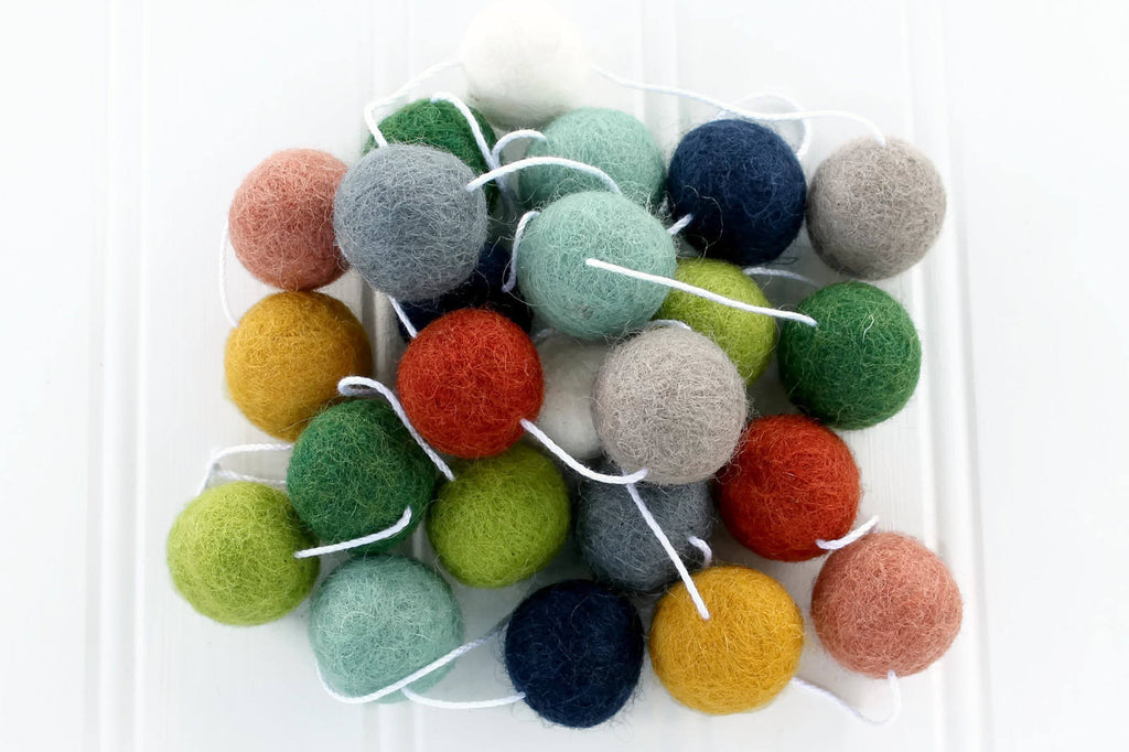 Earth Toned Felt Ball Garland, Pom Pom Garland, Thanksgiving Decor