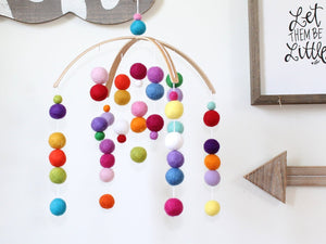 RAINBOW Felt Ball Mobile, Baby Mobile, Crib Mobile