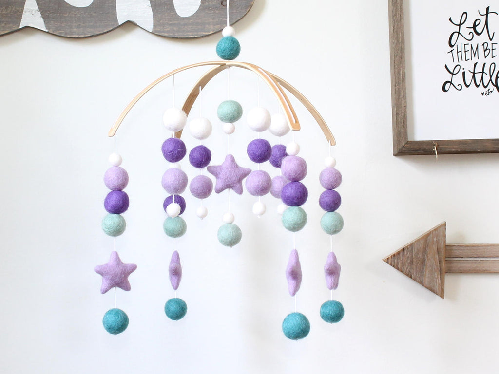 Purple & Teal Star Mobile, Felt Ball Mobile, Baby Mobile