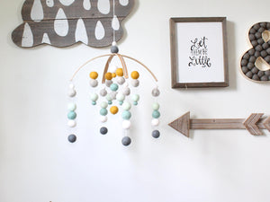 Mint  Felt Ball Mobile, Baby Mobile, Crib Mobile