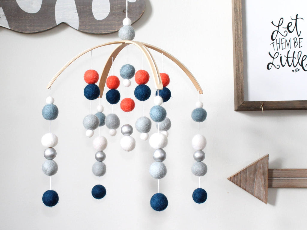 Navy Coral SILVER Felt Ball Mobile, Baby Mobile, Crib Mobile
