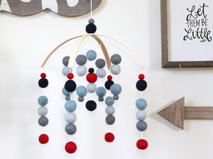 Navy Blue Red Felt Ball Mobile, Baby Mobile, Crib Mobile