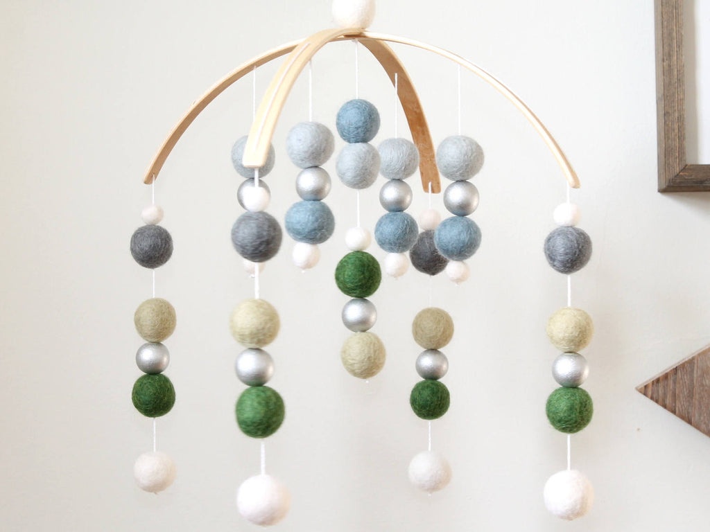 Blue Green SILVER Felt Ball Mobile, Baby Mobile, Crib Mobile