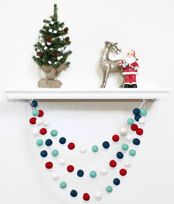 Polar Ice Felt Ball Garland, Pom Pom Garland, Nursery Decor