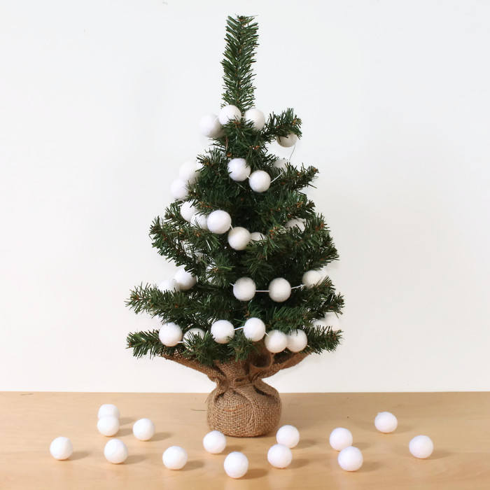 Christmas Tree Garland.White Felt Ball Garland For Christmas Trees Pom Pom Garland White Felt Balls
