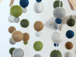 Blue and Green Felt Ball Mobile, Baby Mobile, Crib Mobile