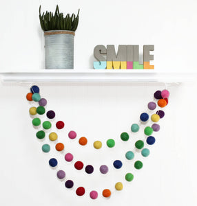 RAINBOW Felt Ball Garland, Nursery Decor, Pom Pom Garland