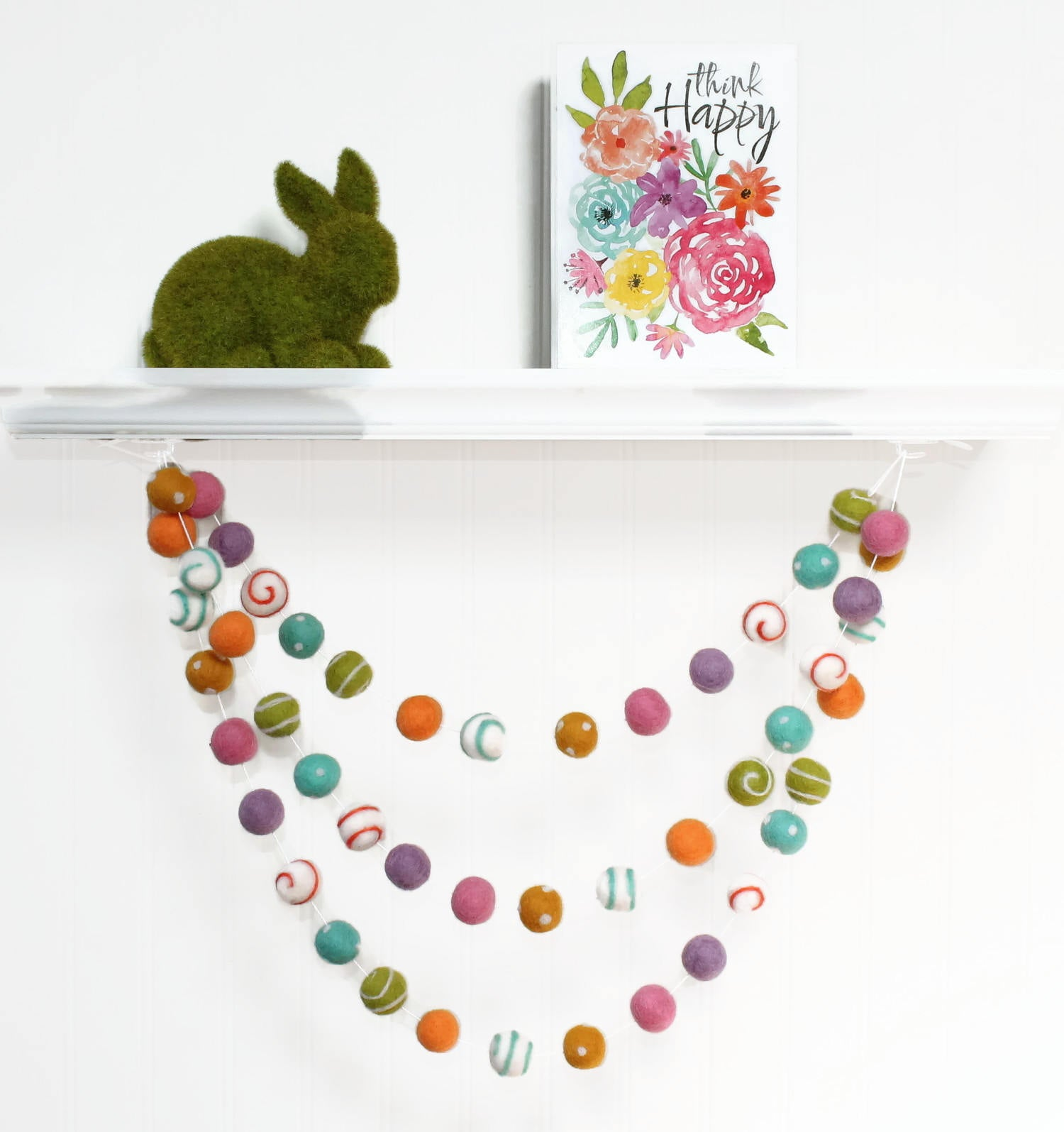 Felt Ball Garland Easter, Pom Pom Garland Spring, Easter Decor