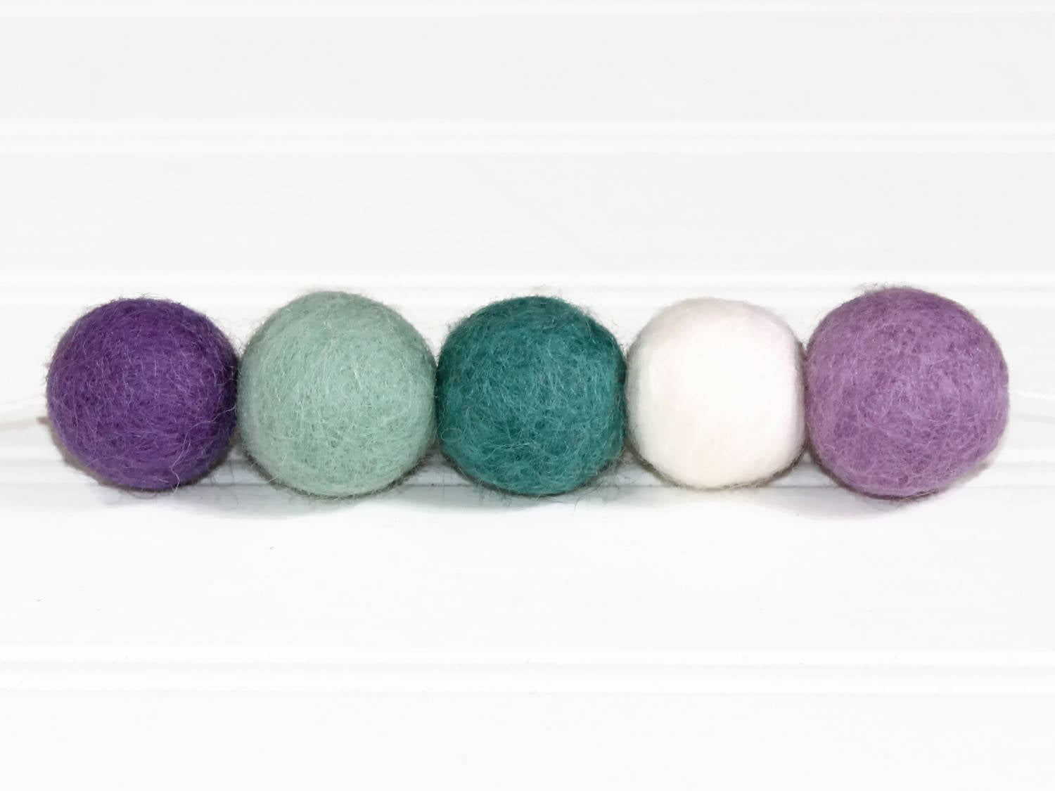 Felt Ball Garland, Pom Pom Garland, Purple and Aqua