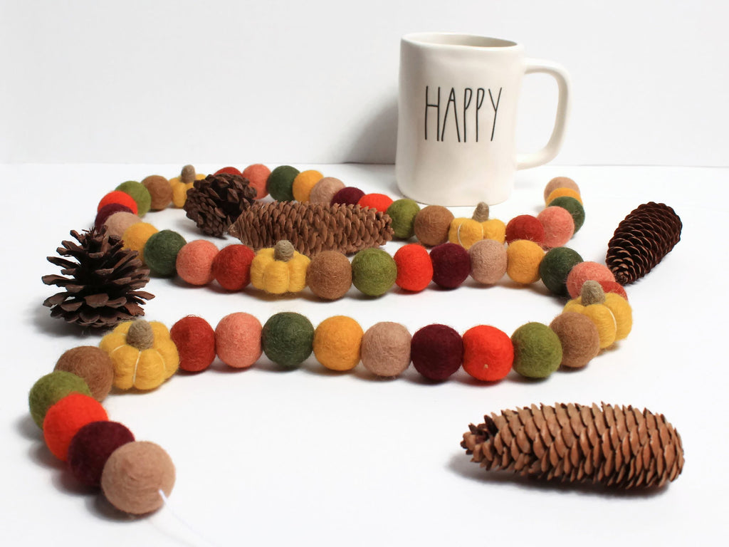 Pumpkin Spice Felt Ball Garland, Fall Pom Pom Garland, Fall Decor