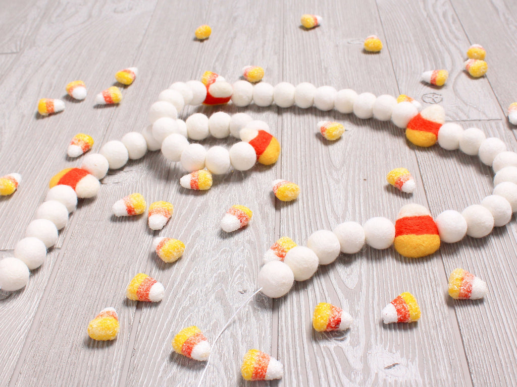 Candy Corn Felt Ball Garland, Fall Pom Pom Garland, Halloween Decor