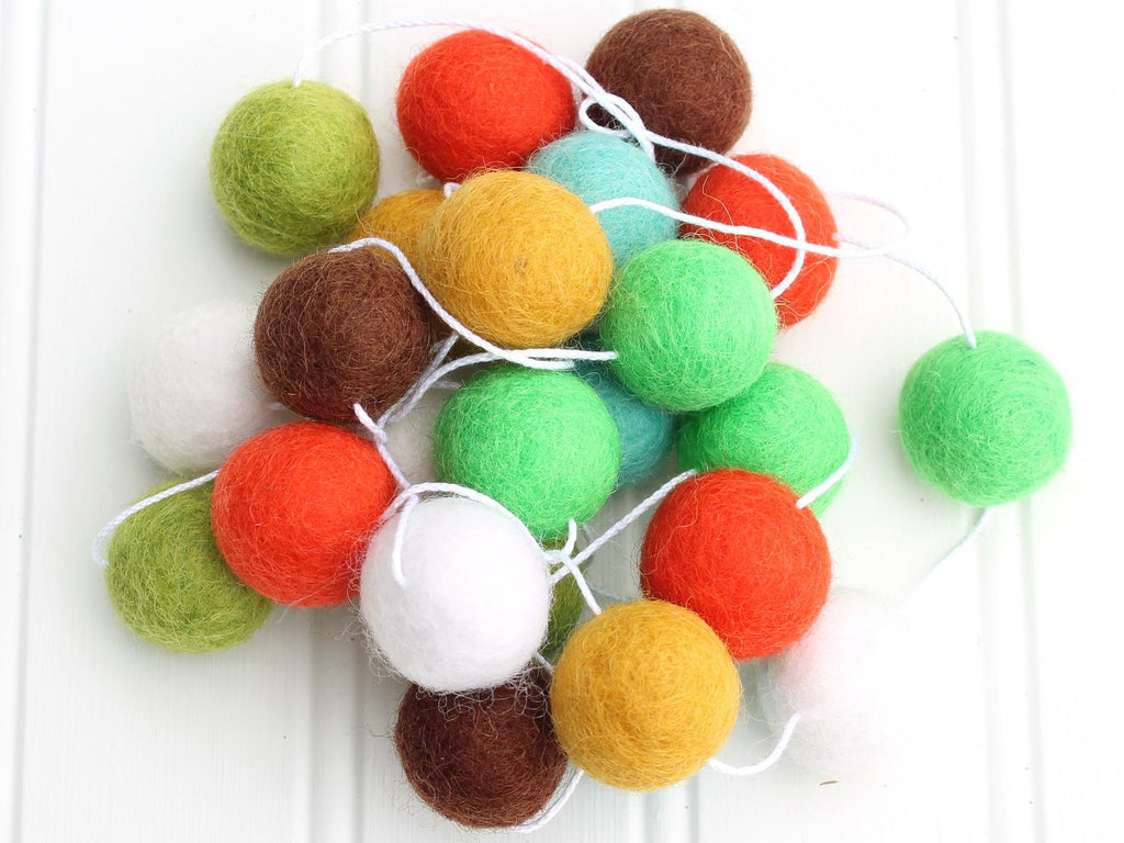 Woodland FELT BALL GARLAND, Pom Pom Garland, Nursery Decor