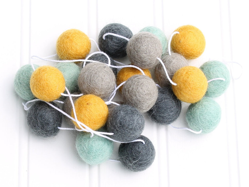 Felt Ball Garland Mint and Mustard, Pom Pom Garland, Mantle Garland