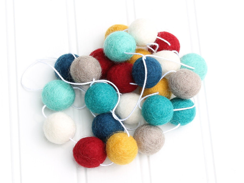 Tribal Felt Ball Garland, Pom Pom Garland, Nursery Decor