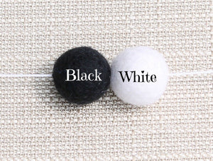 Black and White Felt Ball Garland, Pom Pom Garland, Nursery Decor