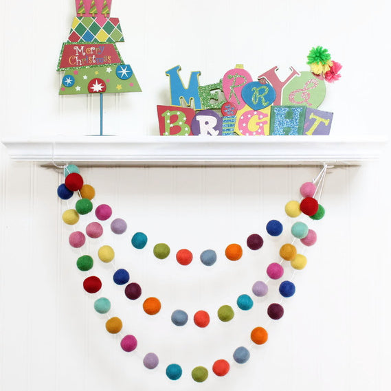 Rainbow Random Felt Ball Garland, Pom Pom Garland, Nursery Decor