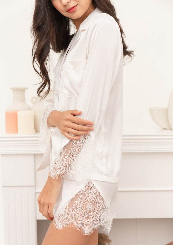 Lily Silk Pyjama Set White
