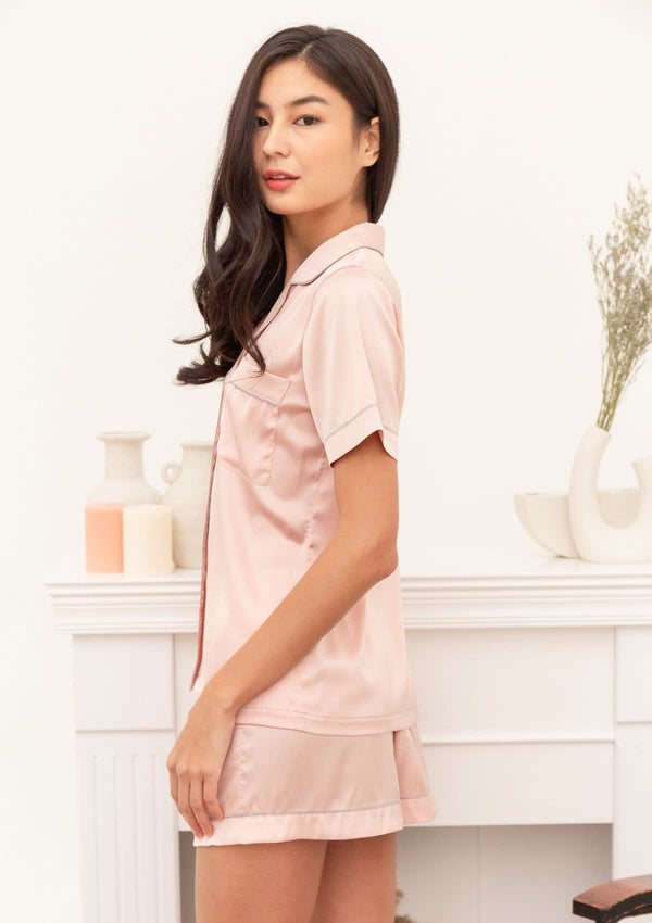 Silk Pyjama Set Short Blush