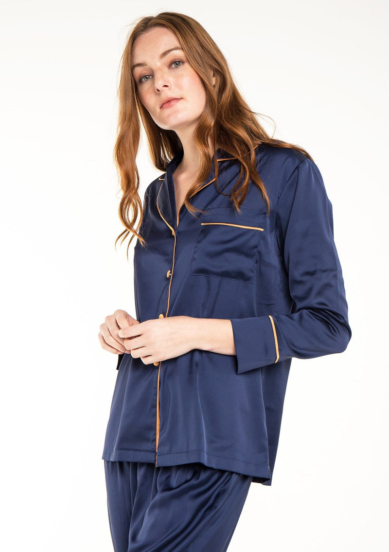 Silk Pyjama Set Navy
