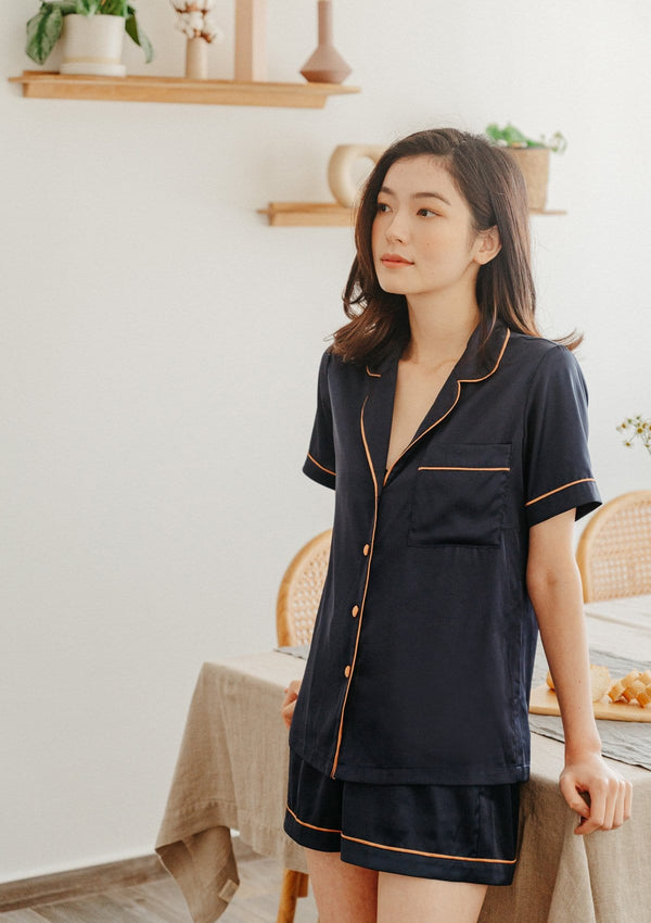 Silk Pyjama Set Short Navy