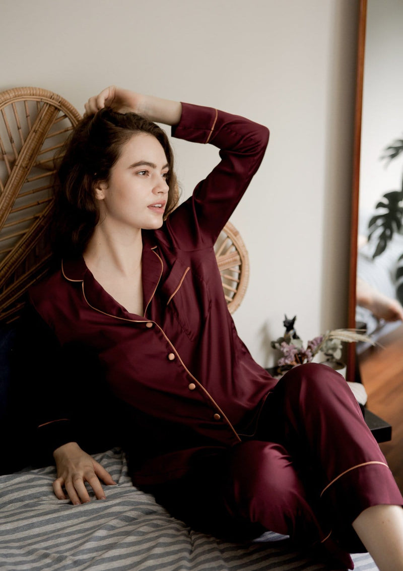 Silk Pyjama Set Maroon