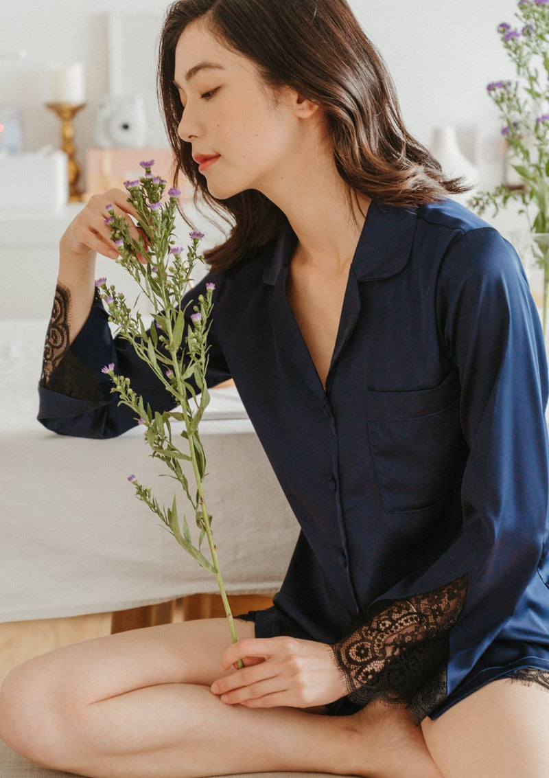 Lily Silk Pyjama Set Navy