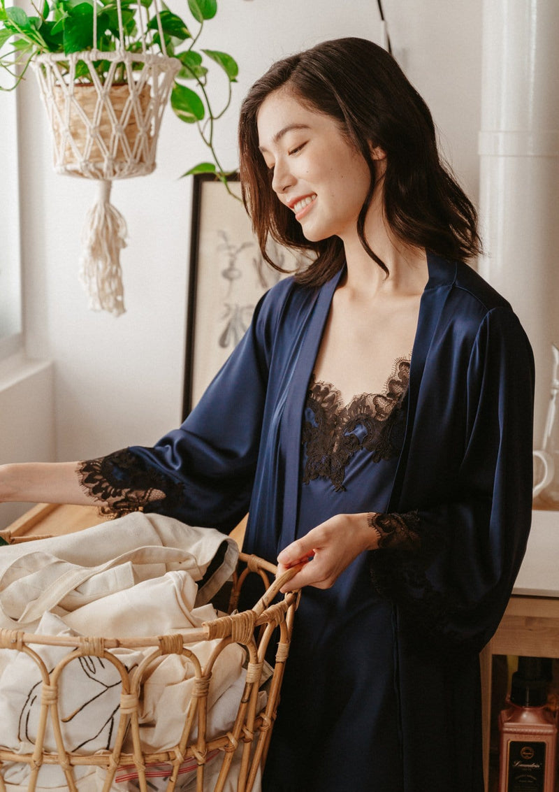 Silk Robe Navy