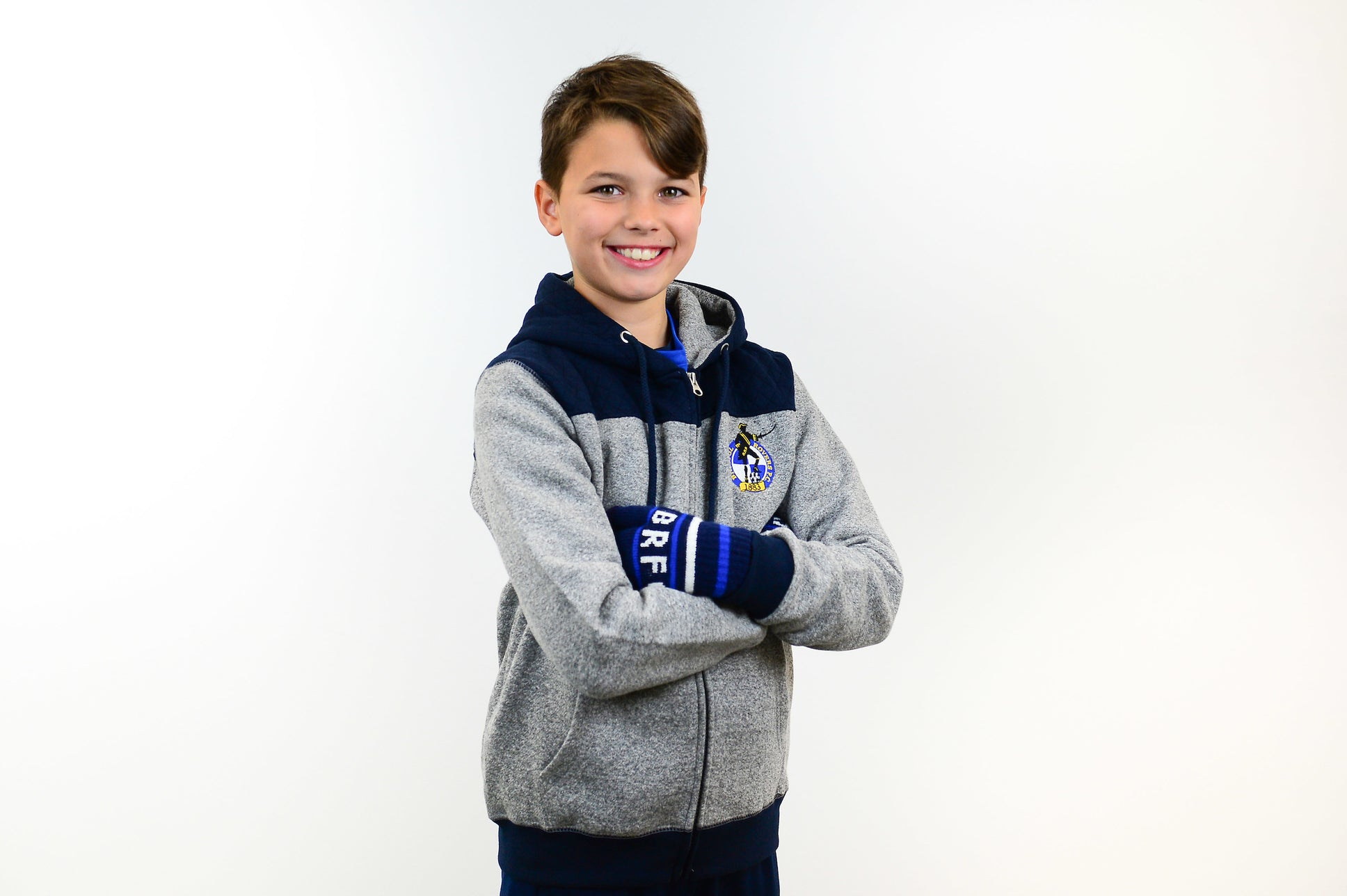 Kids Grey and Navy Hoody
