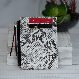 Faux Leather Snake Print Coin Zip Pouch
