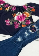 Load image into Gallery viewer, Floral Ruffled Top with Distressed Denim Bell Bottoms