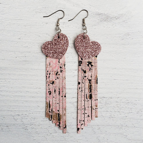 Pink Heart Fringe Leather Earrings