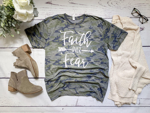 Faith Over Fear- Camo Tee