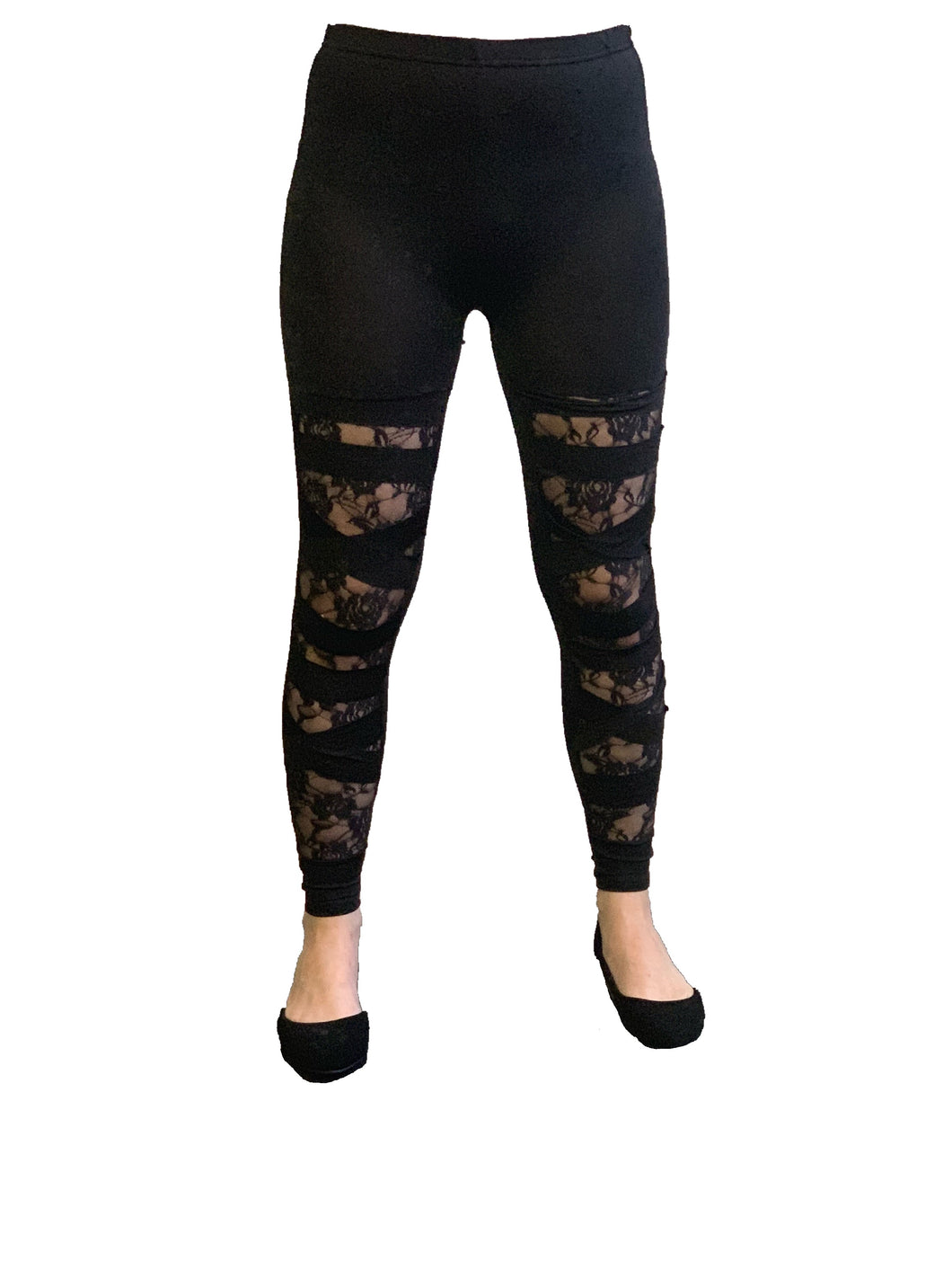 Sheer Lace Spliced Leggings