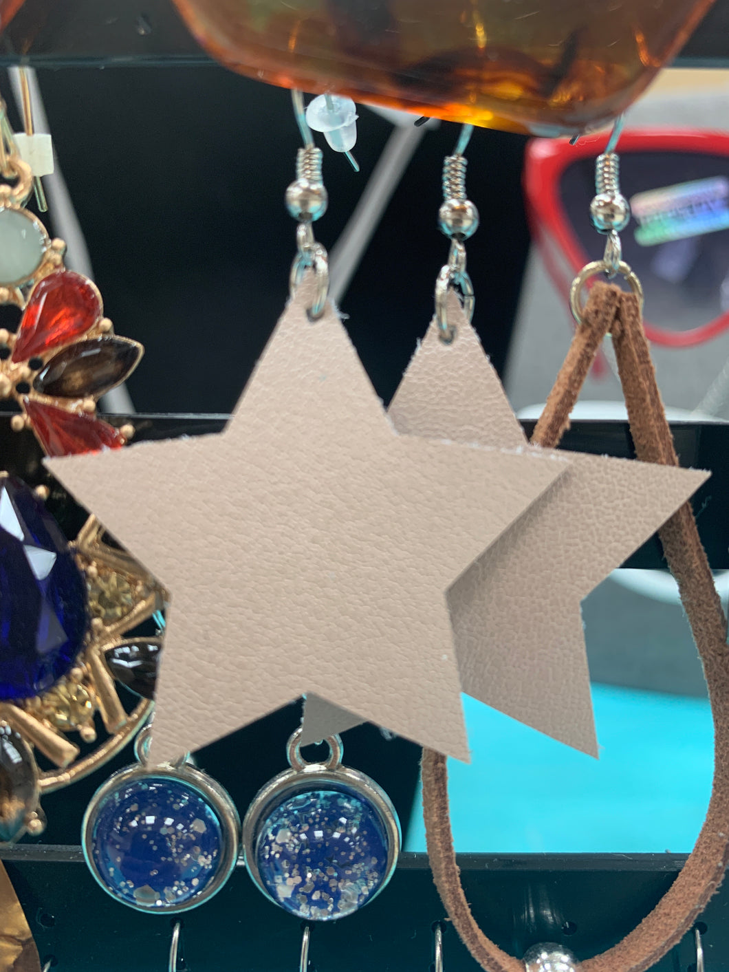 Genuine Leather Star Earrings