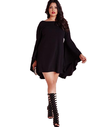 Curvy Mini Dress with Bell Sleeves