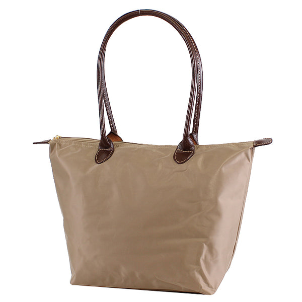 Taupe 16 inch nylon tote bag