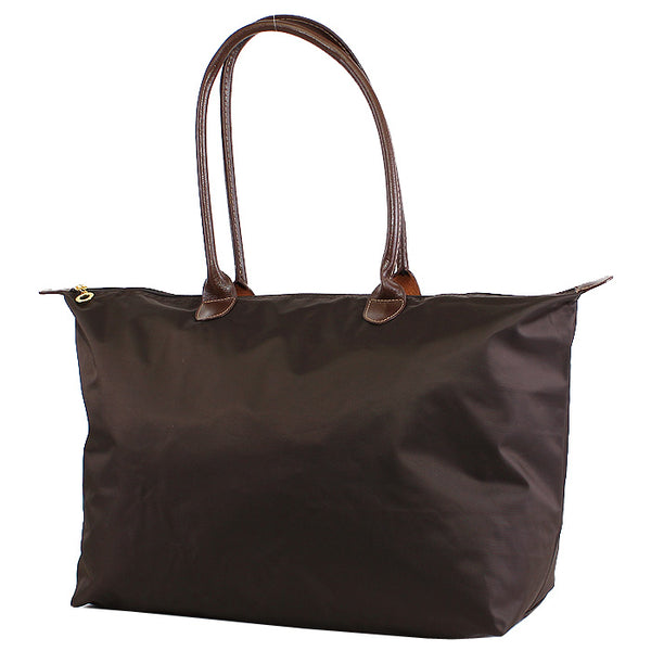 Brown 21 inch nylon tote bag