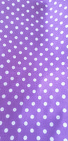 Polycotton fabric purple polkadot design for craft ,dresses,children