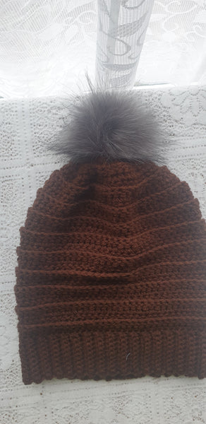 Hand Crochet slouchy hats chocolate brown
