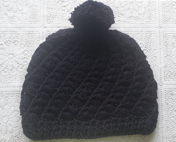 Hand Crochet slouchy hats black textured hat