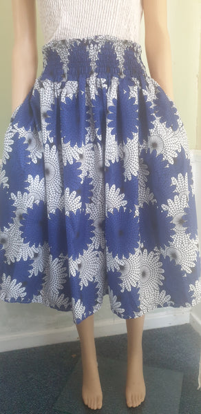 Skirt knee lenght,Blue white skirt with shirred elastic waist