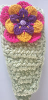 CHUNKY CROCHET  FLOWER HEADBAND light green