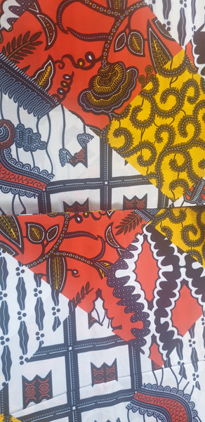 Ankara fabric  cut by the yard yellow  white  and black fabric