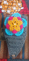 CHUNKY CROCHET  FLOWER HEADBAND grey
