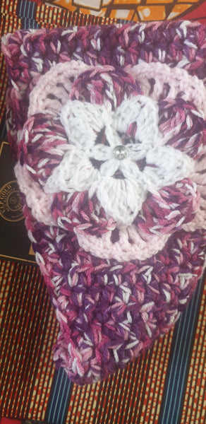 CHUNKY CROCHET  FLOWER HEADBAND purple pink multi