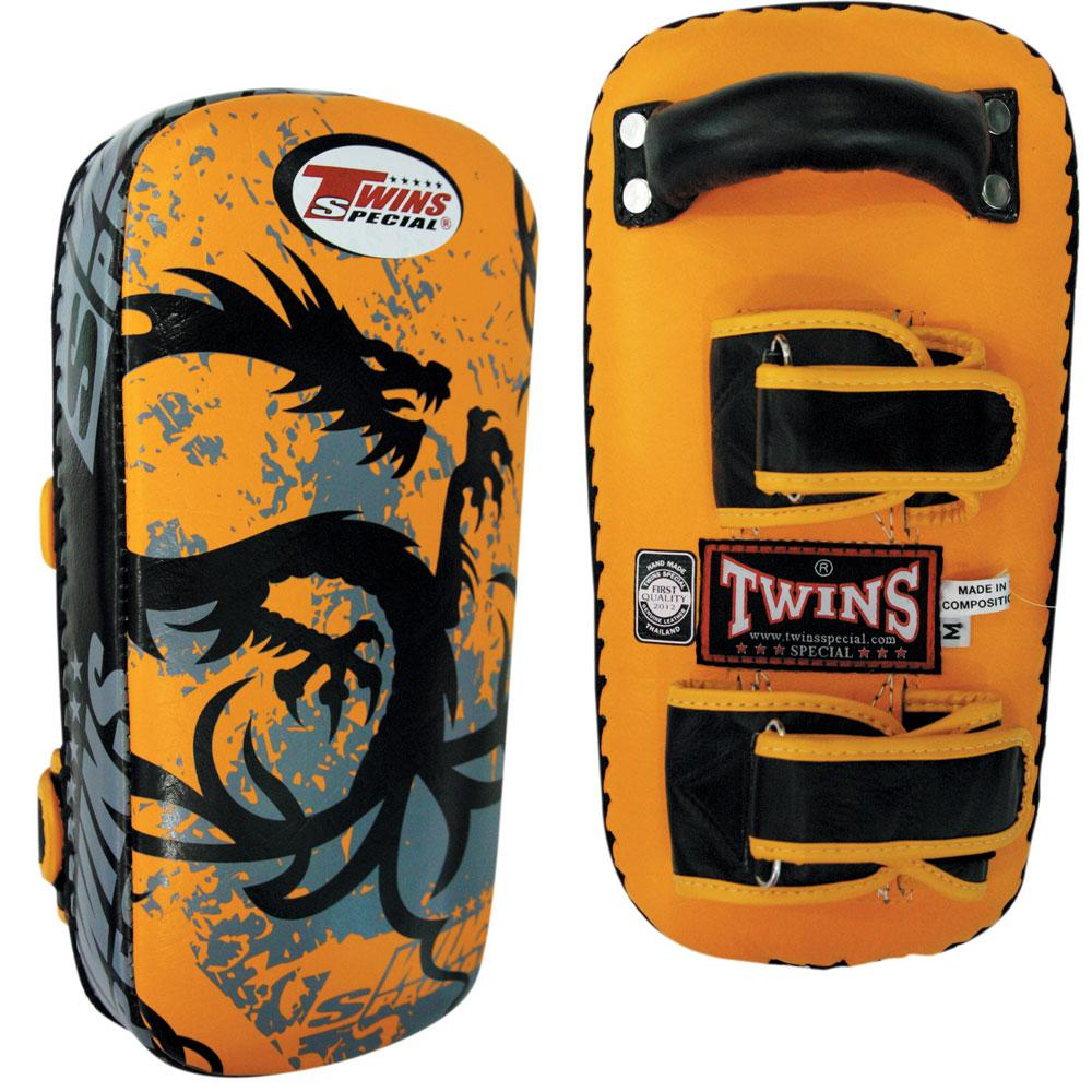 Twins Special Tribal Dragon Muay Thai Pads w/ Velcro- Yellow