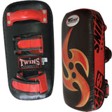 Twins Special Ninja Thai Pads w/ Velcro- Black-Red