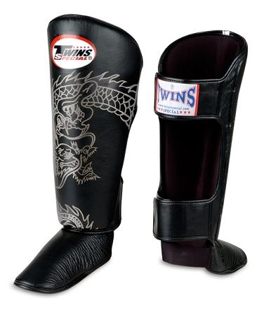 Twins Dragon Shin Guards - Black Silver - Premium Leather