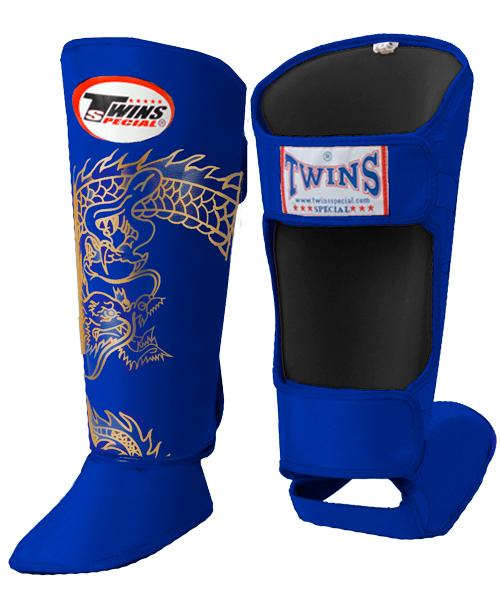 Twins Dragon Shin Guards - Blue Gold - Premium Leather