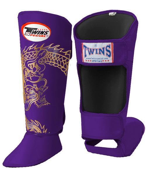 Twins Dragon Shin Guards - Purple Gold - Premium Leather